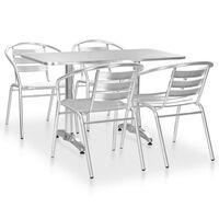 vidaXL Set mobilier de exterior, 5 piese, argintiu, aluminiu