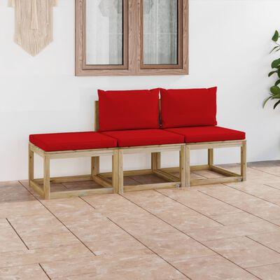 vidaXL Set mobilier de grădină cu perne, 3 piese, roșu