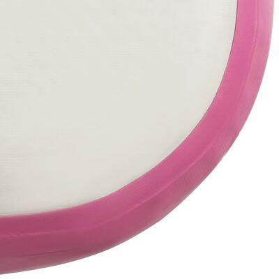 vidaXL Saltea gimnastică gonflabilă cu pompă roz 600x100x20 cm PVC