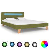 vidaXL Cadru de pat cu LED-uri, verde, 140 x 200 cm, material textil