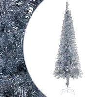 vidaXL Brad de Crăciun artificial subțire, argintiu, 210 cm