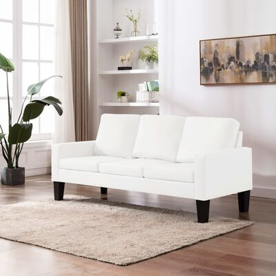 vidaXL Canapea cu 3 locuri, alb, piele ecologică