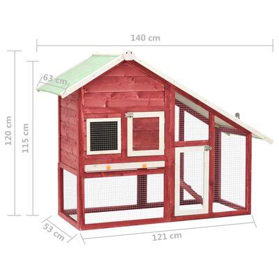 vidaXL Cușcă iepuri, roșu/alb,140 x 63 x 120 cm, lemn masiv de brad