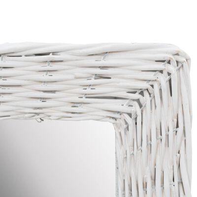 vidaXL Oglindă, alb, 40 x 60 cm, răchită