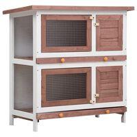 vidaXL Cușcă de iepuri pentru exterior, 4 uși, maro, lemn