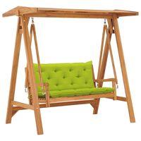 vidaXL Balansoar cu pernă verde crud, 170 cm, lemn masiv tec