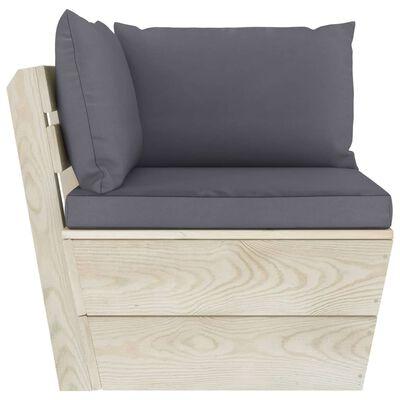 vidaXL Canapea de grădină din paleți, 4 locuri, cu perne, lemn molid