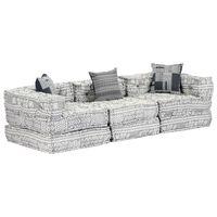 vidaXL Canapea puf modulară cu 3 locuri, gri deschis, material textil
