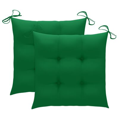 vidaXL Scaune grădină cu perne verde, 2 buc., verde, lemn masiv tec
