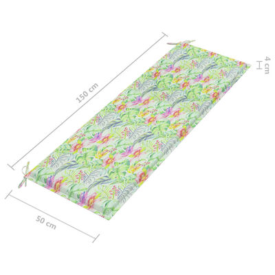 vidaXL Bancă grădină cu pernă model frunze, 150 cm, lemn masiv tec