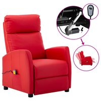 vidaXL Electric Massage Reclining Chair Red Faux Leather (289728+327164)