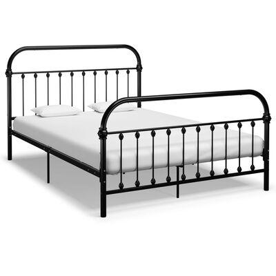 vidaXL Cadru de pat, negru, 140 x 200 cm, metal