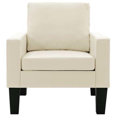 vidaXL Set de canapele, 3 piese, crem, piele ecologică