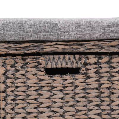 vidaXL Bancă din iarbă de mare, 3 coșuri, 105 x 40 x 42 cm, gri