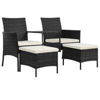 vidaXL Canapea grădină cu 2 locuri cu masă & taburete, negru poliratan