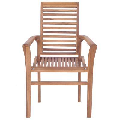vidaXL Scaune de masă cu perne, 4 buc., antracit, lemn masiv de tec