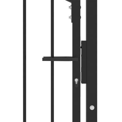 vidaXL Poartă de gard cu țepușe, negru, 100x200 cm, oțel
