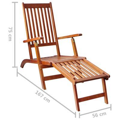 vidaXL Șezlong exterior, suport picioare și pernă, lemn masiv acacia