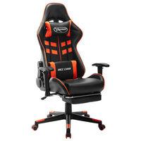 vidaXL Scaun gaming cu suport picioare, negru/oranj, piele ecologică