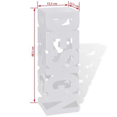 Suport pătrat pentru depozitare umbrelă și baston, oțel, 48,5cm, alb