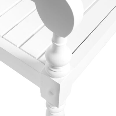 vidaXL Bancă Batavia, alb, 98 cm, lemn masiv mahon