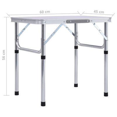 vidaXL Masă de camping pliabilă, alb, 60 x 45 cm, aluminiu