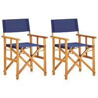vidaXL Scaune de regizor, 2 buc., albastru, lemn masiv de acacia