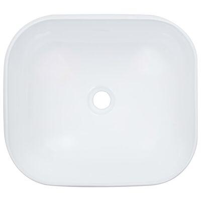vidaXL Chiuvetă de baie, alb, 44,5x39,5x14,5 cm, ceramică