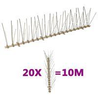 vidaXL Set bandă cu țepi antipăsări cu 5 rânduri 20 buc. plastic 10 m