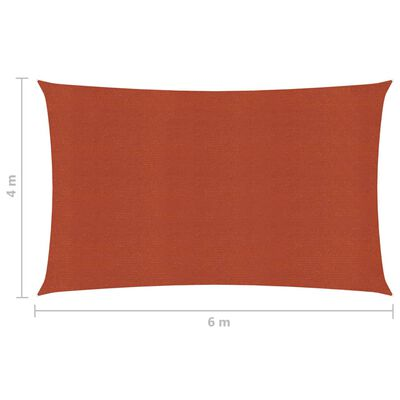 vidaXL Pânză parasolar, cărămiziu, 4x6 m, HDPE, 160 g/m²
