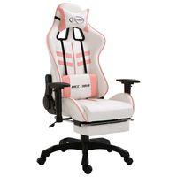 vidaXL Scaun pentru jocuri, suport picioare, roz, piele ecologică