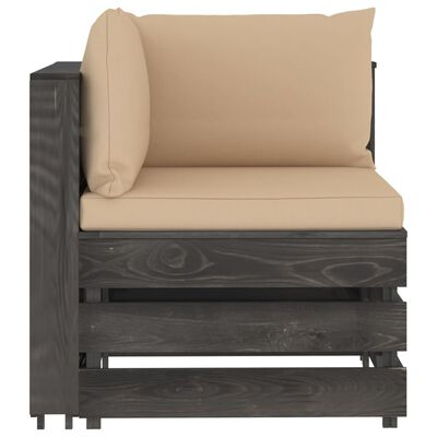 vidaXL Canapea de colț modulară cu perne, gri, lemn impregnat