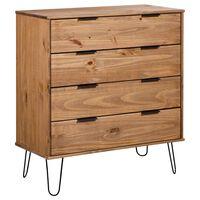 vidaXL Comodă cu sertare alb 76,5x39,5x90,3 cm lemn masiv de pin