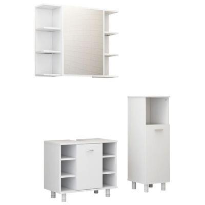 vidaXL Set mobilier baie, 3 piese, alb extralucios, PAL