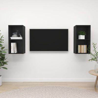vidaXL Dulapuri TV montate pe perete, 2 buc., negru, PAL