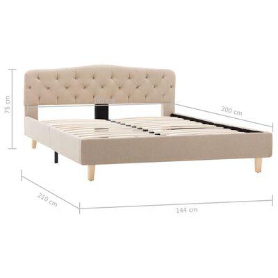 vidaXL Cadru de pat, bej, 140 x 200 cm, material textil