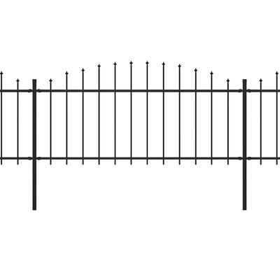 vidaXL Gard de grădină cu vârf suliță, negru, (0,5-0,75) x 3,4 m, oțel