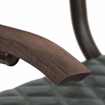 vidaXL Scaune de bucătărie cu brațe, 4 buc., gri, piele naturală