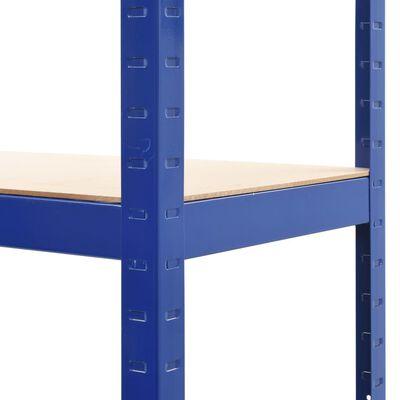 vidaXL Rafturi depozitare, 2 buc., albastru, 80x40x160cm, oțel și MDF