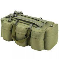 vidaXL Geantă 3-în-1 în stil army, 120 L, Verde măsliniu