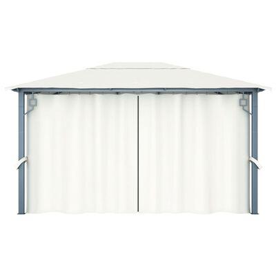 vidaXL Pavilion cu perdele & șiruri lumini, crem, 400x300 cm, aluminiu, Crem