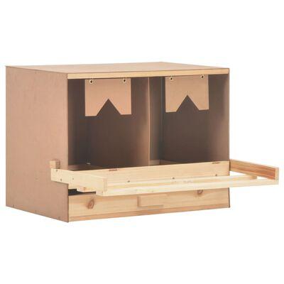 vidaXL Cuibar găini cu 2 compartimente, 63x40x45 cm, lemn masiv pin