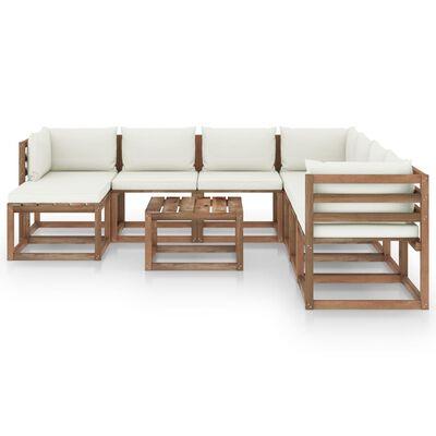vidaXL Set mobilier de grădină cu perne crem, 9 piese