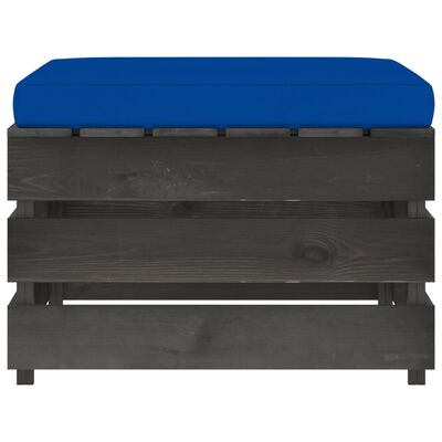 vidaXL Set mobilier de grădină cu perne, 3 piese, lemn gri tratat