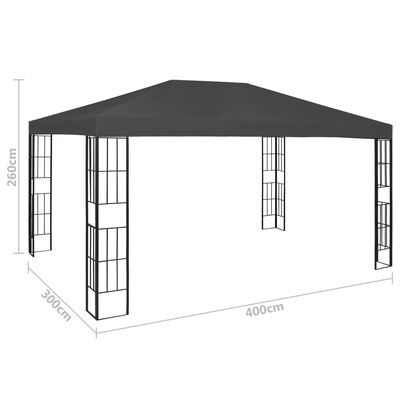 vidaXL Pavilion cu șir de lumini, antracit, 3x4 m, Antracit