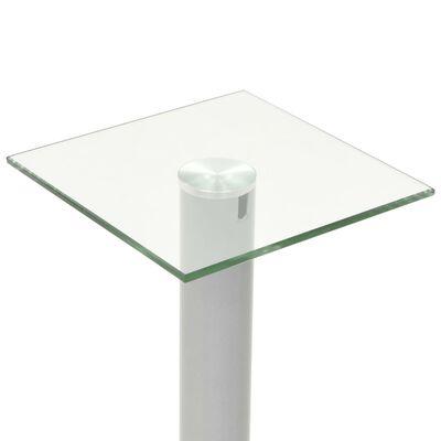 vidaXL Standuri boxe 2 buc., sticlă călită, design coloană, argintiu
