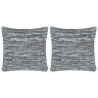 vidaXL Perne decorative, 2 buc., Chindi gri, 45x45 cm, piele & bumbac