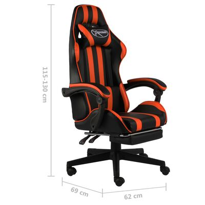 vidaXL Scaun racing suport picioare, negru/portocaliu, piele eco