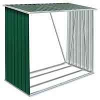 vidaXL Șopron de lemne grădină, verde, 163x83x154 cm, oțel galvanizat