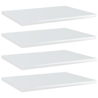 vidaXL Plăci bibliotecă, 4 buc., alb extralucios, 40 x 30 x 1,5 cm PAL